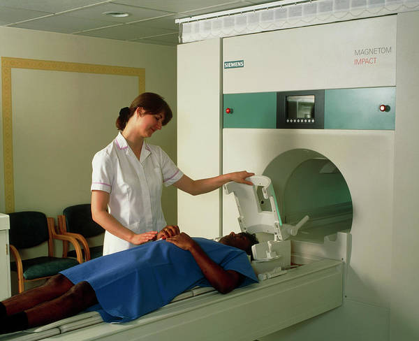 Mri Photograph - Preparation For Mri Brain Scan by Science Photo Library