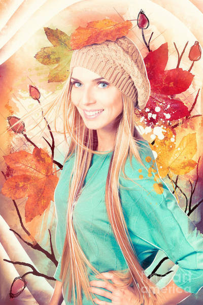 Wall Art - Photograph - Pretty Blond Girl In Autumn Fashion Illustration by Jorgo Photography - Wall Art Gallery