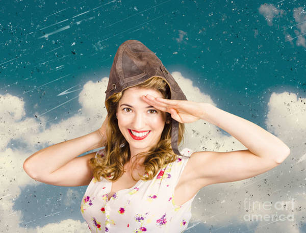 Photograph - Pretty Vintage Female Pin Up Pilot. Travel Ready by Jorgo Photography - Wall Art Gallery