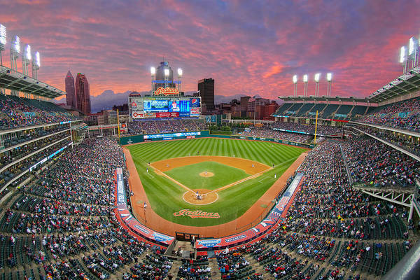 Photograph - Progressive Field Sunset by Mark Whitt