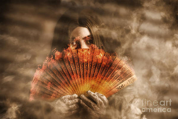 Black Magic Woman Wall Art - Photograph - Psychic Clairvoyant Holding Mystery And Magic Fan by Jorgo Photography - Wall Art Gallery