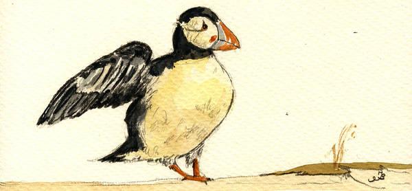Atlantic Painting - Puffin Bird by Juan  Bosco