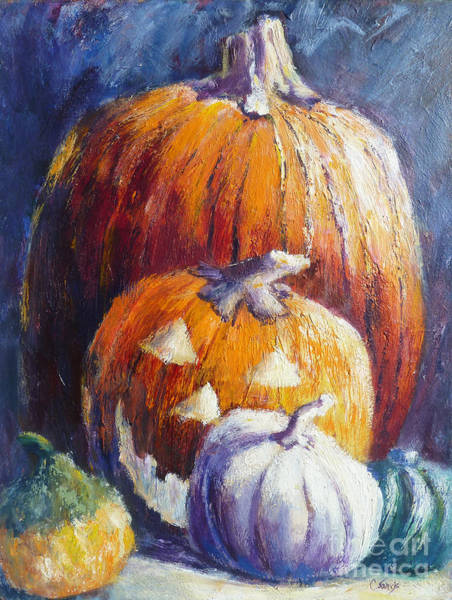 Painting - Pumpkin Happy Face by Carolyn Jarvis
