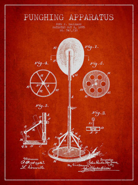Mma Digital Art - Punching Apparatus Patent Drawing From1895 by Aged Pixel
