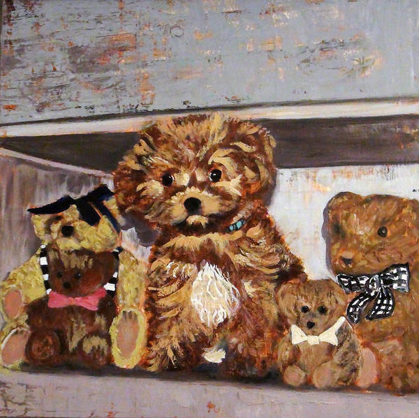 Painting - Puppy And Bears by Gaye White