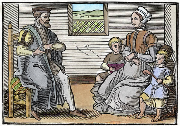 Wall Art - Painting - Puritan Family, 1563 by Granger