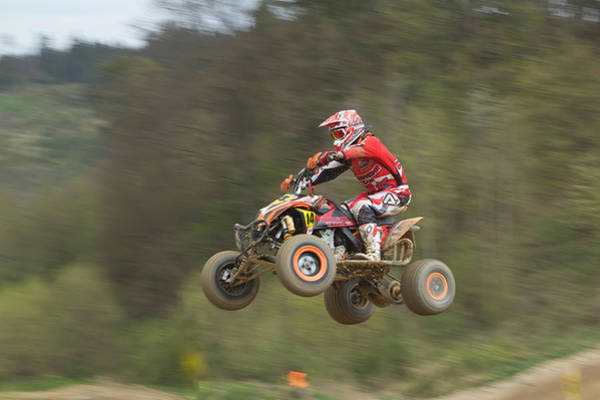 Dirtbike Photograph - Quad Racer Jumping by Jaroslav Frank