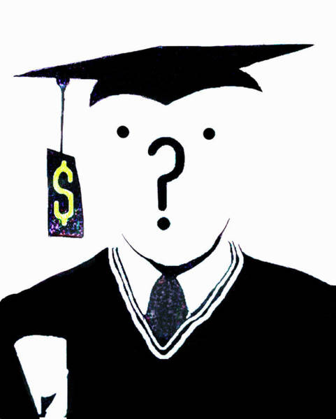 Wall Art - Photograph - Question Mark Over Face Of Graduate by Ikon Ikon Images
