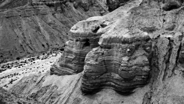 Holy Land Photograph - Qumran Cave 4 Bw by Stephen Stookey