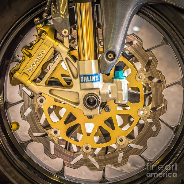 Brembo Photograph - Racing Bike Wheel With Brembo Brakes And Ohlins Shock Absorbers - Square - Black And White by Ian Monk