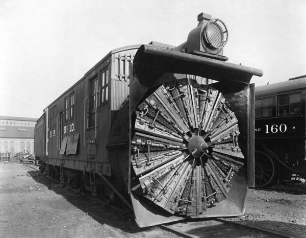 Thoroughfare Photograph - Railroad Rotary Snow Plow by Underwood Archives