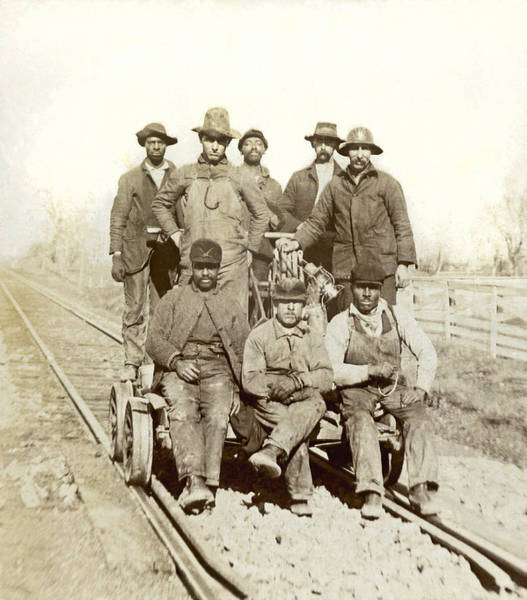 Men At Work Wall Art - Photograph - Railroad Workers by Underwood Archives
