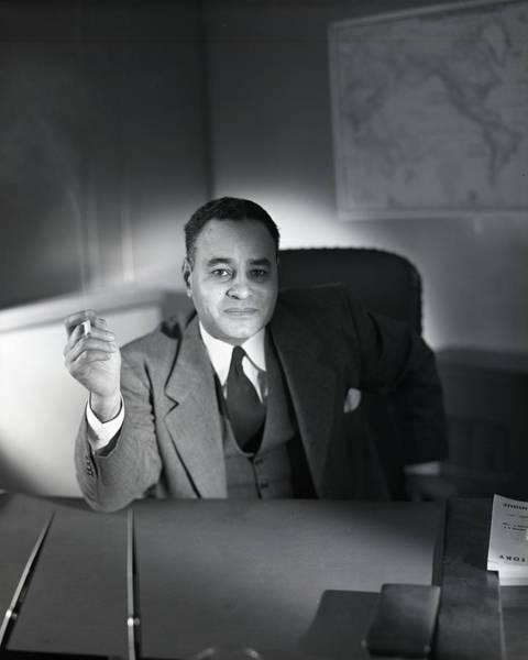 Desk Photograph - Ralph L. Bunche Smoking by Horst P. Horst