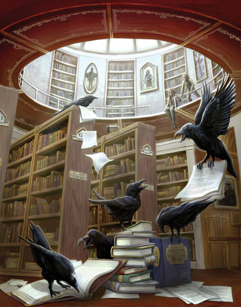 Poe Wall Art - Painting - Ravens In The Library by MGL Meiklejohn Graphics Licensing