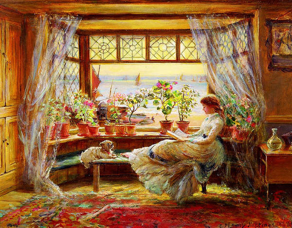 Wall Art - Painting - Reading By The Window by Celestial Images
