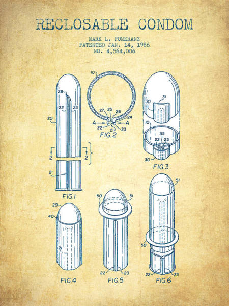 Pregnancy Digital Art - Reclosable Condom Patent From 1986 - Charcoal by Aged Pixel