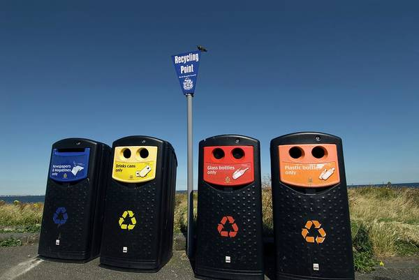 Wall Art - Photograph - Recycling Bins by Simon Fraser/science Photo Library