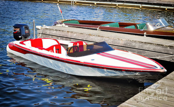 Photograph - Red And White Boat by Les Palenik