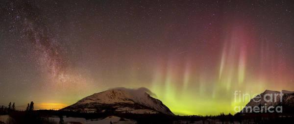 Photograph - Red Aurora Borealis And Milky Way by Joseph Bradley