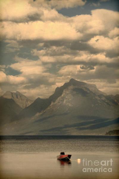Wall Art - Photograph - Red Boat On Mountain Lake by Jill Battaglia