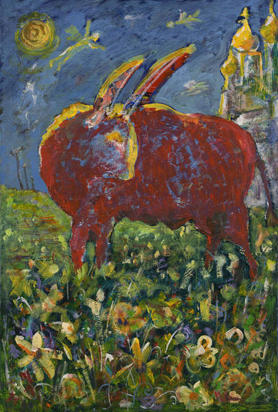 Painting - Red Bull In The Flower Field by Maxim Komissarchik