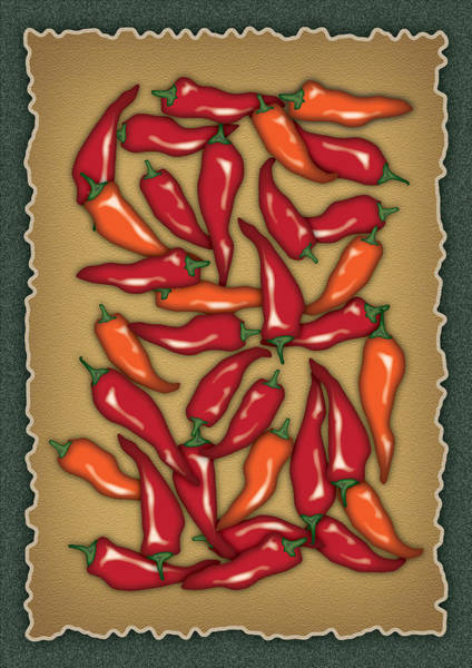 Vegetarian Digital Art - Red Chilli Peppers by Ym Chin