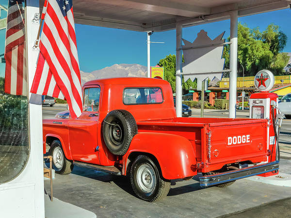 Pick Up Truck Photograph - Red Dodge Pickup Truck Parked In Front by Panoramic Images