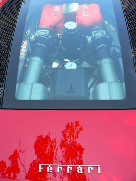 Photograph - Red Ferrari Engine Window by Jeff Lowe