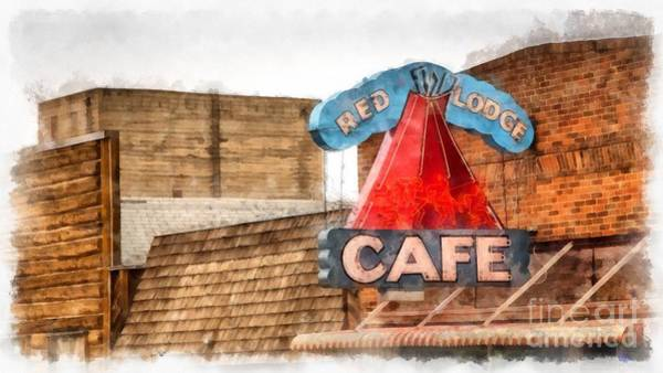 Neon Signage Photograph - Red Lodge Cafe Old Neon Sign by Edward Fielding