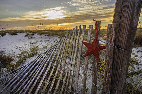 Digital Art - Red Star On Fence by Michael Thomas