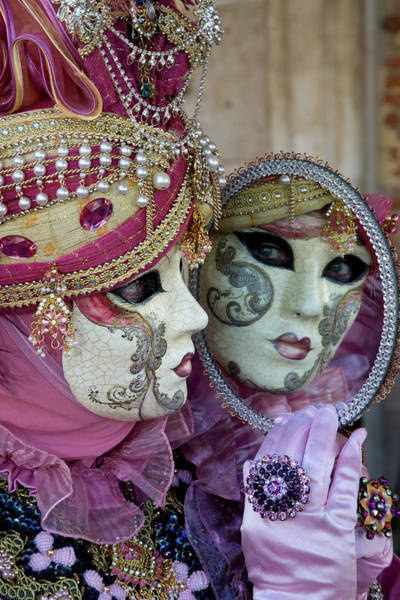 Mauve Photograph - Reflection In Mirror Venice At Carnival by Darrell Gulin