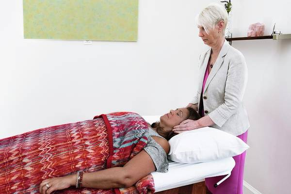 Heal Photograph - Reiki Therapy by Lewis Houghton/science Photo Library