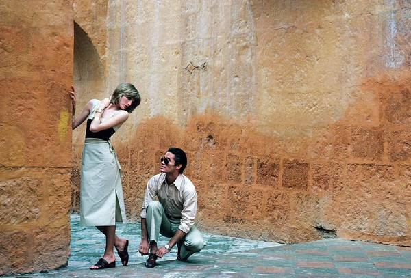Facade Photograph - Rene Russo And A Male Model In Arequipa by Francesco Scavullo