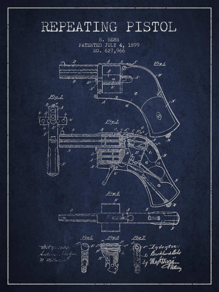 Weapons Digital Art - Repeating Pistol Drawing From 1899 by Aged Pixel