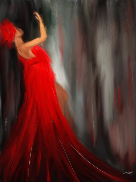 Red Moon Painting - Resonating Admiration by Lourry Legarde