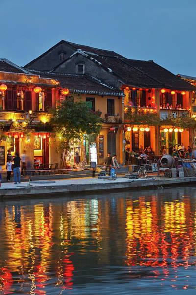 Hoi An Photograph - Restaurants Reflected In Thu Bon River by David Wall