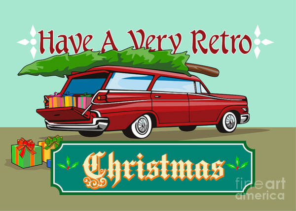 Wagon Digital Art - Retro Christmas Tree Station Wagon by Aloysius Patrimonio