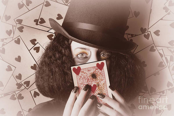 Photograph - Retro Magician Holding Burnt Playing Card by Jorgo Photography - Wall Art Gallery