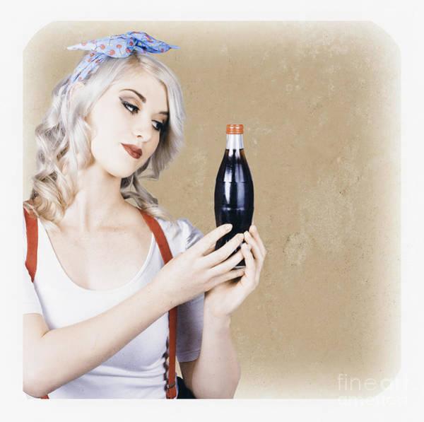 Soda Pop Wall Art - Photograph - Retro Pop Art Girl. Vintage Texture Background by Jorgo Photography - Wall Art Gallery