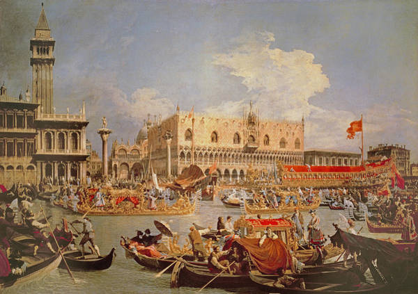 Procession Photograph - Return Of The Bucintoro On Ascension Day by Canaletto