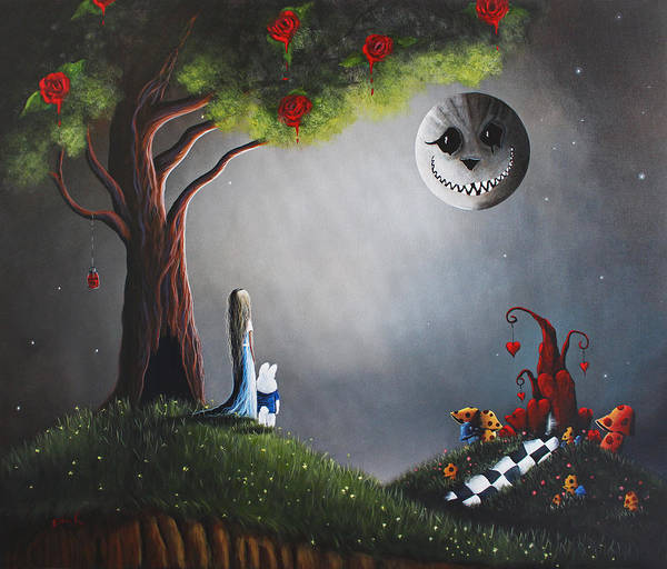 Red Moon Painting - Alice In Wonderland Original Artwork by Erback Art