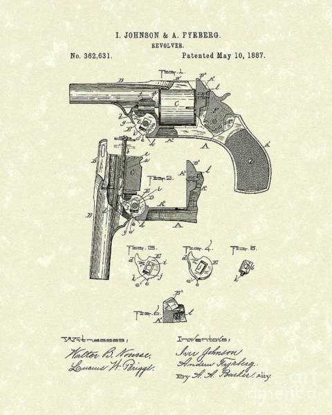 Drawing - Revolver 1887 Patent Art by Prior Art Design