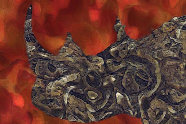 Mounted Digital Art - Rhino Abstract by Jack Zulli