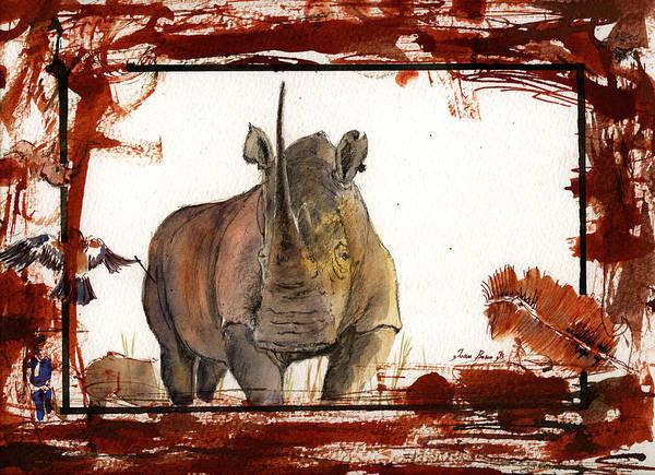 Blood Painting - Rhino by Juan  Bosco