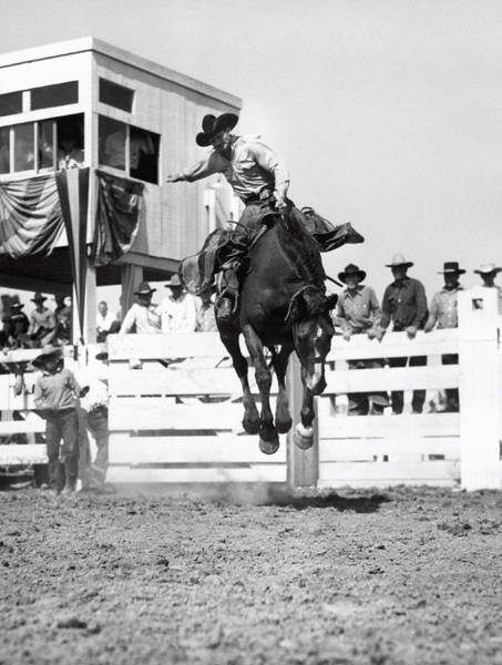 Appearance Photograph - Riding A Bucking Bronco by Underwood Archives
