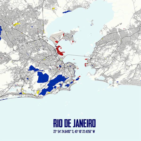 Painting - Rio De Janeiro Piet Mondrian Style City Street Map Art by Celestial Images