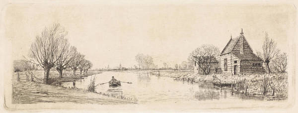 Wall Art - Drawing - River Landscape With A Wooden House, Elias Stark by Elias Stark