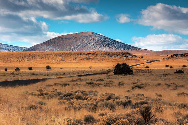 Wupatki Photograph - Road And Volcanic Mountains by Bob Stefko