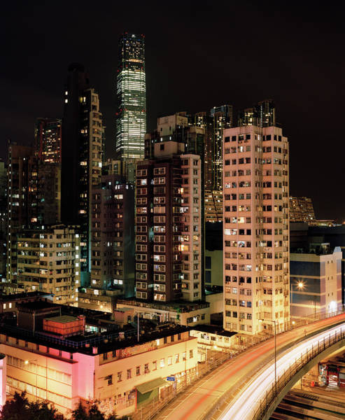 Kowloon Photograph - Road Leading Through Cityscape At Night by Gary Yeowell