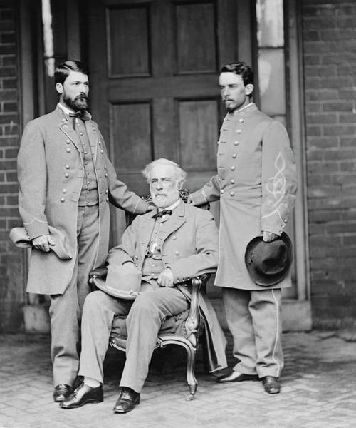 Herron Photograph - Robert E. Lee With Eldest Son And Aide by Stocktrek Images